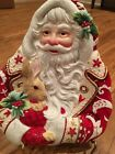 FITZ & FLOYD Large Christmas SANTA SERVING DISH/COOKIE PLATTER, MINT, 10