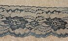 25 Yards BLACK 4 1/8 Inch In Wide Lace NEW