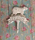 Cast Iron Bear Welcome Towel Hook Hat Rack jewelry Kitchen Cabin Door Decor