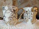 222 FIFTH ADELAIDE GOLD SET OF 2  COFFEE MUGS!  NEW.