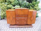 Beautiful 1920's Art Deco Bookmatched Walnut Cocktail Cabinet / Drinks Bar