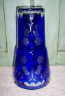 Bohemian Czech Cobalt Blue Cut to Clear Tumble Up Carafe Bedside Cup Decanter