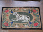 Authentic antique ES Frost Pattern Dog hooked rug, 32 by 54 inches