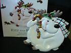 Fitz and Floyd Plaid Christmas Reindeer Candy Cane Canape Plate #2063/124 NIB