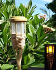6 Solar 5 LED Flickering Amber Bamboo Tiki Torch Landscape Stake Light 62 Tall