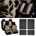 Auto Seat Covers for Car SUV with Black Floor Mats Beige