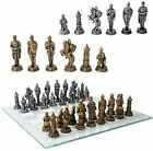 Medieval Warfare Age Of Knights  Kings Resin Chess Pieces With Glass Board Set