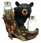 Atlantic Collectibles Black Bear In the Woods Salt Pepper Shakers Holder Figu