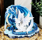 Light Blue Dragon Mom with White Baby Statue Figurine 7 Long Fantasy Decor
