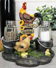 Rooster and Family Glass Salt and Pepper Shaker Set Figurine for Decorative F