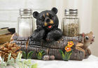 Black Baby Bear Playing With Log Figurine Salt Pepper Shakers Holder Stand Di