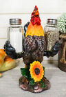 Decorative Farm Rooster Salt and Pepper Shaker Set with Holder Figurine 8 Tall