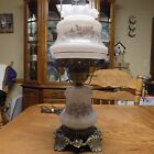 VINTAGE gone with the wind FLORAL 3 WAY HURRICANE parlor LAMP fluted chimney