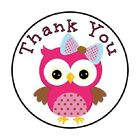 48 Thank You Owl Pink ENVELOPE SEALS LABELS STICKERS 12 ROUND