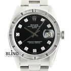 Rolex Black Diamond Men's Oyster Perpetual Date 1501 Stainless Steel 34mm Watch