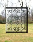 Stunning Handcrafted All Clear stained glass Beveled window panel 24 x 28