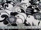 Discount Fabric Printed Spandex Stretch Black White Daisies Floral D400