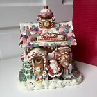 Vintage FITZ & FLOYD Cookie Jar CANDY LANE / SANTA'S RAILROAD STATION w/ BOX! EX