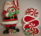 FITZ & FLOYD PEPPERMINT SANTA Candlestick Holders Ships FREE