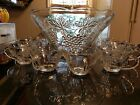 Antique Grape and Grape Leaves Clear Glass 12 Cup Punch Bowl