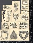 Lot of 15 Foam Mounted Valentine Stamps