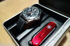 Wenger Twin-Eye Date Day 24hr Men's Military Leather Band Swiss Watch Knife Gift