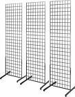 Gridwall Panel Tower with T Base Floorstanding Display Kit 3 Pack Black 2x6