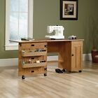 Sewing and Craft Table Pine Storage Machine Desk Shelves Folding Cabinet NEW