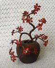 Vintage Metal Bonsai Tree Red Cherry Blossom Potted Plant Decor Wire Enamel