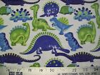 Happy Dinosaurs Snuggle Cotton Flannel Fabric BTY Blue and Green