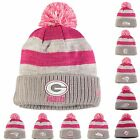 2016 New Era Women's Breast Cancer Awareness Sideline Pom Cuffed Knit Hat Beanie