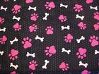 Pink Paw Print and Bone Snuggle Cotton Flannel Fabric BTY On Black Polka Dot