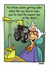 Woman At Eye Doctor Funny Birthday Card Greeting Card by Oatmeal Studios