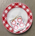 222 Fifth HOME CUPBOARD RED Appetizer Dessert Plates Set Of 4 Gingham