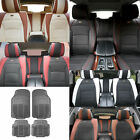 PU Leather Seat Cushion Cover w/ Gray Floor mats Headrests for Auto 5 Colors