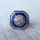 ART DECO STYLE DIAMOND AND Sapphire Engagement RING 925 STERLING SILVER Size 8