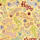 Happy Cats Love Hope Play Grow Hug Smile Yellow 100 cotton Fabric by the yard
