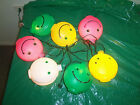 VINTAGE NOMA BLOW MOLD SMILEY FACE RV PATIO AWNING STRING LIGHTS, PARTY LIGHTS