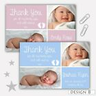 Personalised New Baby Thank You Cards Boy Girl Birth Announcement + envelopes