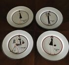 THE GIRLS THE T COMPANY SANTA BARBARA APPETIZER DESSERT PLATES SET OF 4