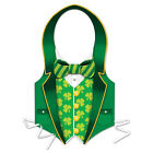 St Patricks Day Costume Mens Boys Green Suit Vest Shamrock Kit Irish Pats Paddys