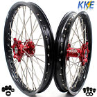 SUZUKI MX WHEELS RIMS SETS RM125 RM250 1999-2008 RED CNC HUB 2003 2004 2005