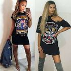 Women Vintage Rock Style Long T Shirt Mini Dress Casual Party Holiday TShirt Top