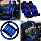 Car Seat Covers Blue Black 16pc Set for Auto w/Steering Wheel/Belt Pad/Head Rest