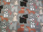 Multiple Dogs on Gray Snuggle Cotton Flannel Fabric BTY