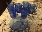 Cobalt Blue Shirley Temple Creamers and Plate