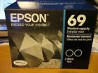 2 Packs Genuine Epson 69 Black Ink Cartridges T06910 Free shipping