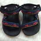 TEVA 6243 Baby Size 2 3 Sandals with Cars Blue Yellow Red Fabric Water Swimming