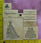 STAMPIN UP LOVE  LAUGHTER wedding engagement retired 7 rubber stamps 2551