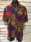 Womens Size XL 1X Pink Purple Green Floral Top Short Sleeve Button Up